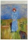 Edvard Munch (1863-1944)  -  Vrouw met rode hoed bij de fjord - Postcard -  A11896-1