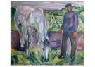 Edvard Munch (1863-1944)  -  Man met paard, 1918 - Postcard -  A11902-1